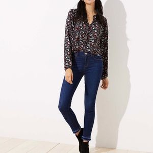 Ann Taylor LOFT Modern Double Frayed Skinny Jeans